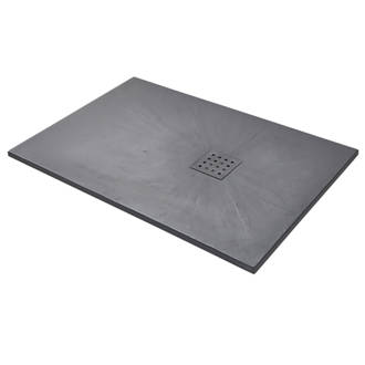 Image of The Shower Tray Company Rectangular Shower Tray Grey Slate-Effect 1200 x 800 x 27mm