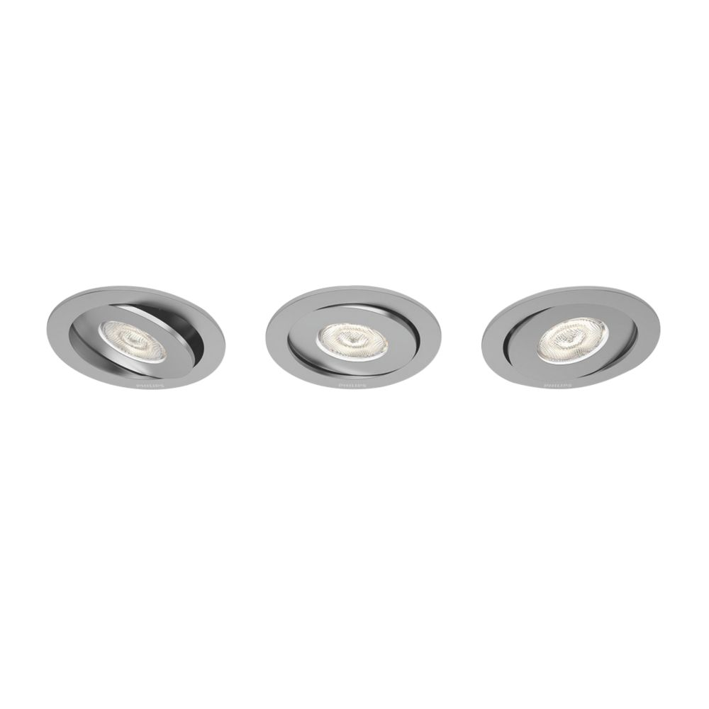 Image of Philips Adjustable LED Downlights 440lm Aluminium 4.5W 230V 3 Pack