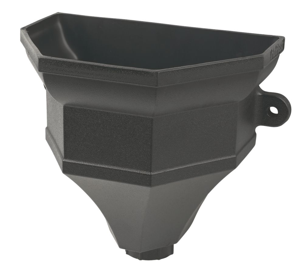 Image of FloPlast Cast Iron Effect Ogee Hopper with Lugs Black
