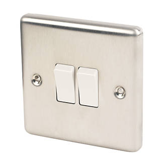 Image of LAP 10AX 2-Gang 2-Way Light Switch Brushed Stainless Steel