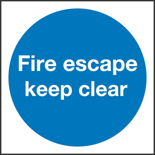 """Image of Fire Escape Keep Clear"""" Sign 100 x 100mm"""