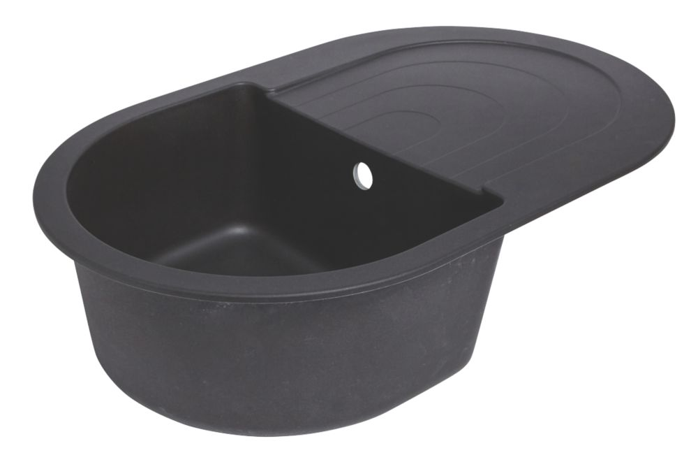 Image of Round Granite Composite Kitchen Sink Black 1-Bowl Reversible 790 x 500mm