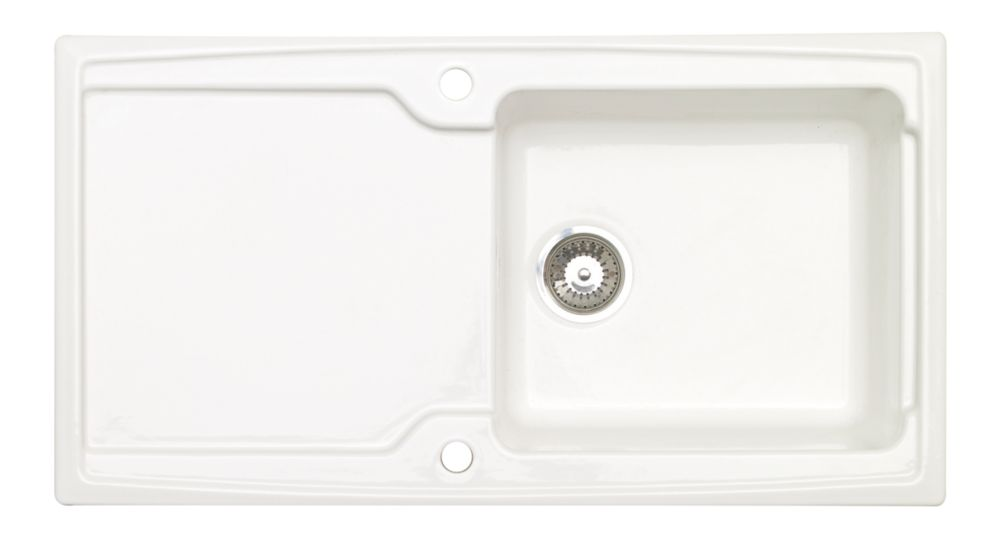 Image of Astracast Ardenne Ceramic 1-Bowl Square Inset Sink w/Reversible Drainer