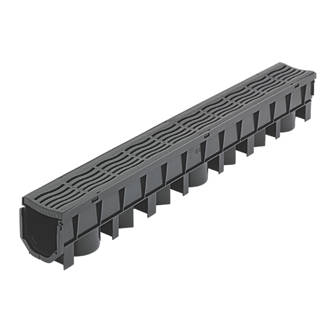 Image of FloPlast FloDrain Channel Drain & Grate Black 115mm x 1012mm