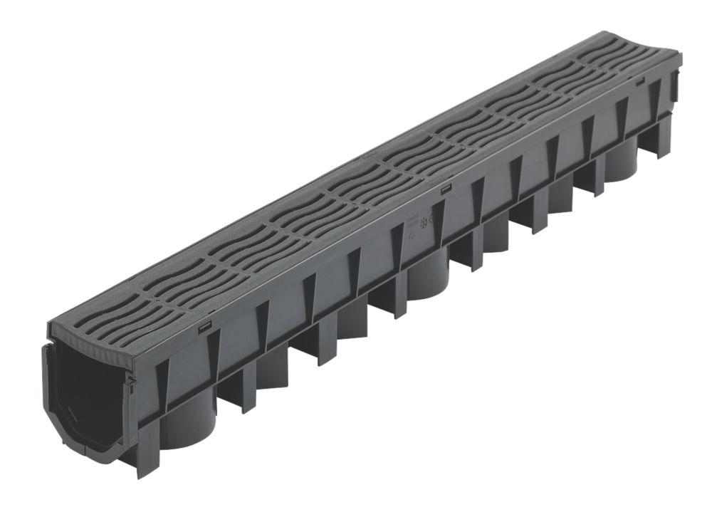 Image of FloPlast FloDrain Channel Drain & Grate Black 118mm x 1010mm