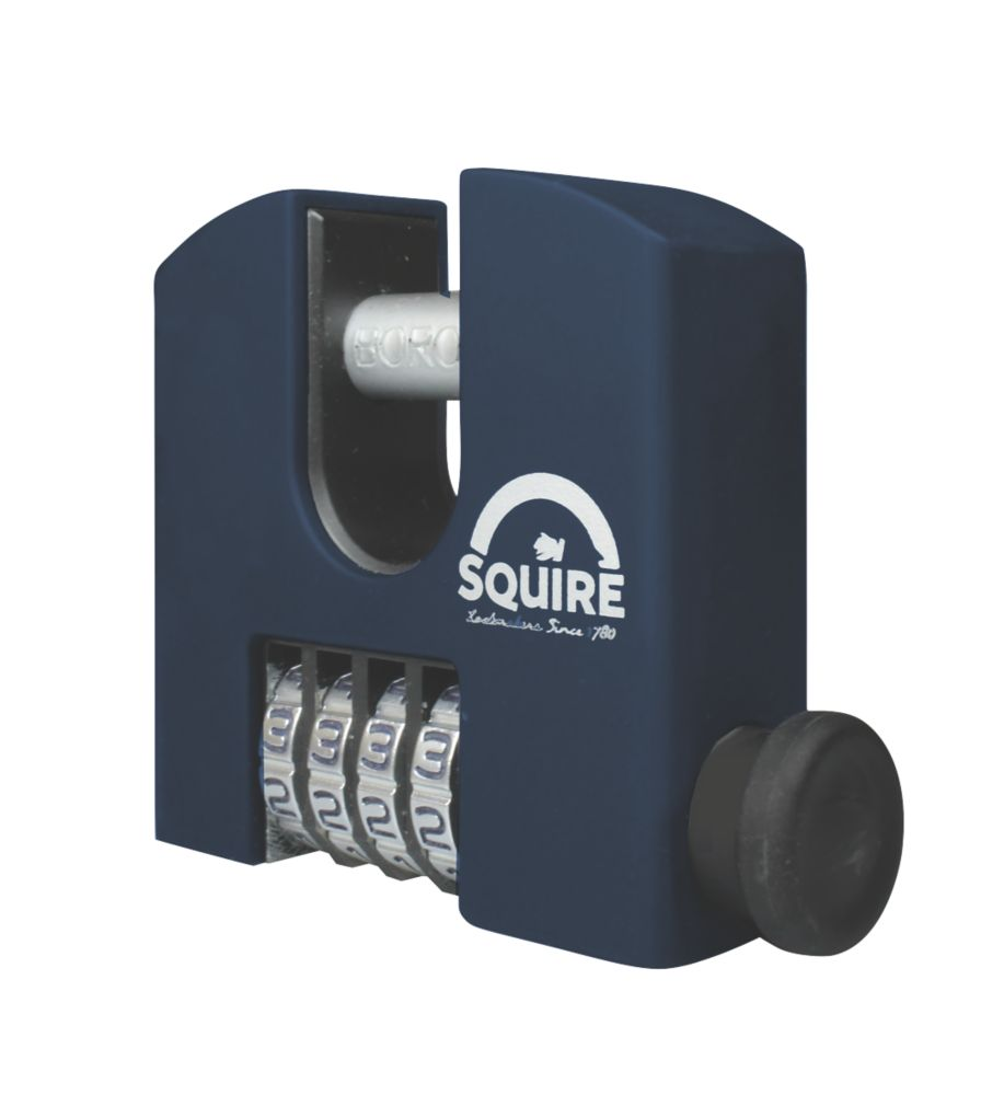 Image of Squire Brass 4-Wheel Combination Padlock Blue 65mm