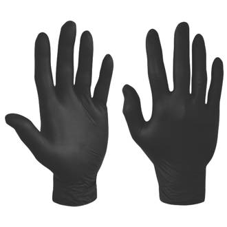 Image of Polyco Nitrile Powder-Free Disposable Gloves Black Medium 100 Pack