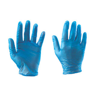 Image of Cleangrip Vinyl Powdered Disposable Gloves Blue Large 100 Pack
