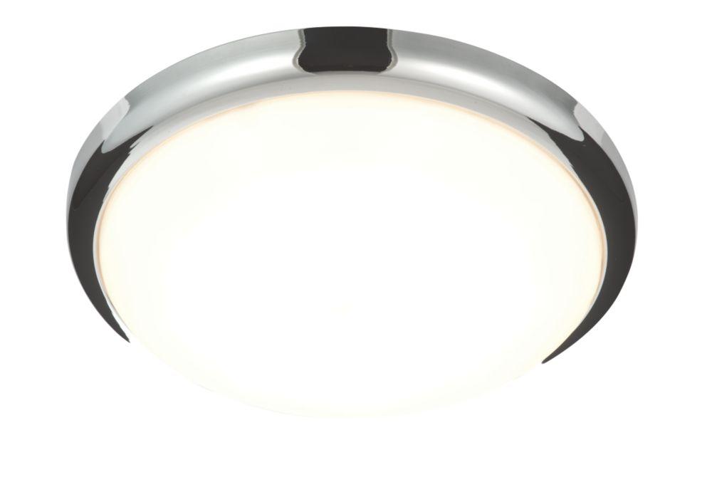 Image of Saxby Delaware LED Flush Ceiling Light Chrome 20W
