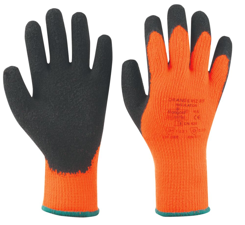 Image of Marigold Industrial Hi Viz Thermal Latex Palm Gloves Orange Large