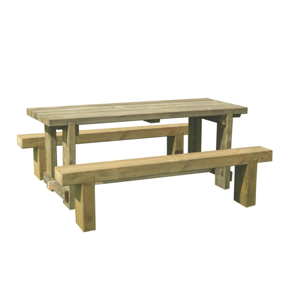 Image of Forest Sleeper Garden Table & 2 x Benches 1800 x 700 x 750mm