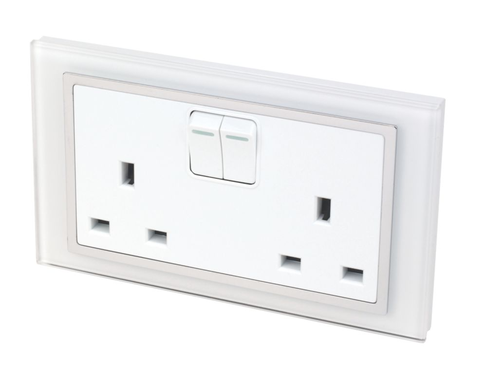 Image of Retrotouch Crystal 2-Gang 13A DP Switched Plug Socket White Glass