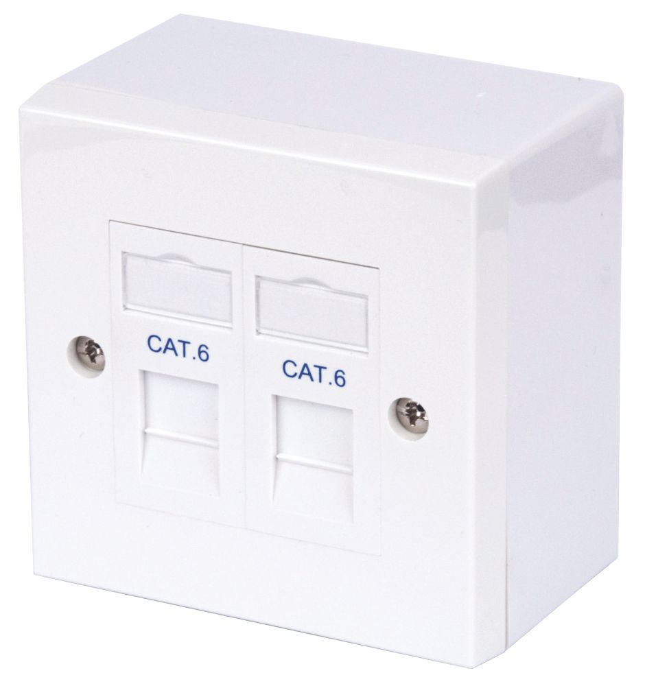 Image of Philex Cat 6 RJ45 Twin Outlet Kit