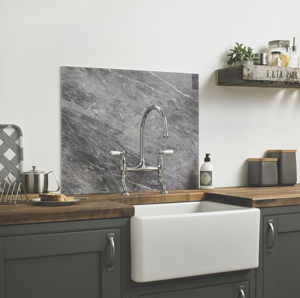 Image of Impact Glass Grey Marble Self-Adhesive Splashback 600 x 750 x 6mm