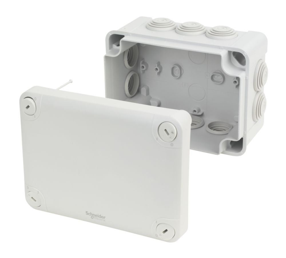 Image of Schneider Electric 10-Entry Junction Box with Knockouts Grey 150 x 105 x 80mm