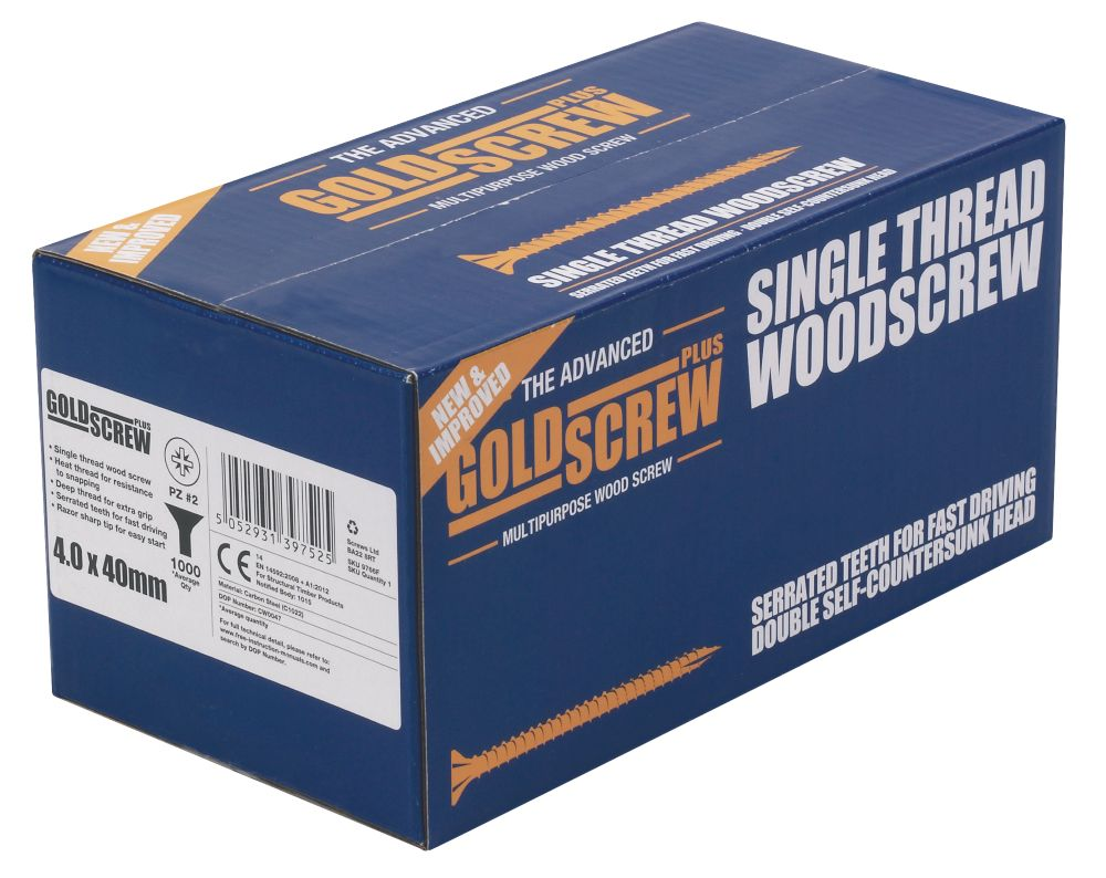 Image of Goldscrew Plus Woodscrews Double Countersunk 4 x 40mm 1000 Pack