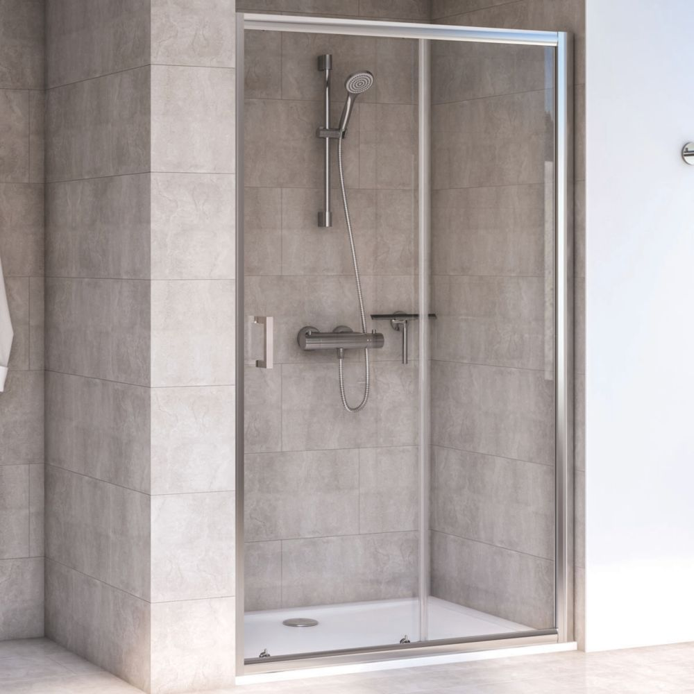 Image of Aqualux Rectangular Shower Door & Tray Reversible 1200 x 760 x 1935mm