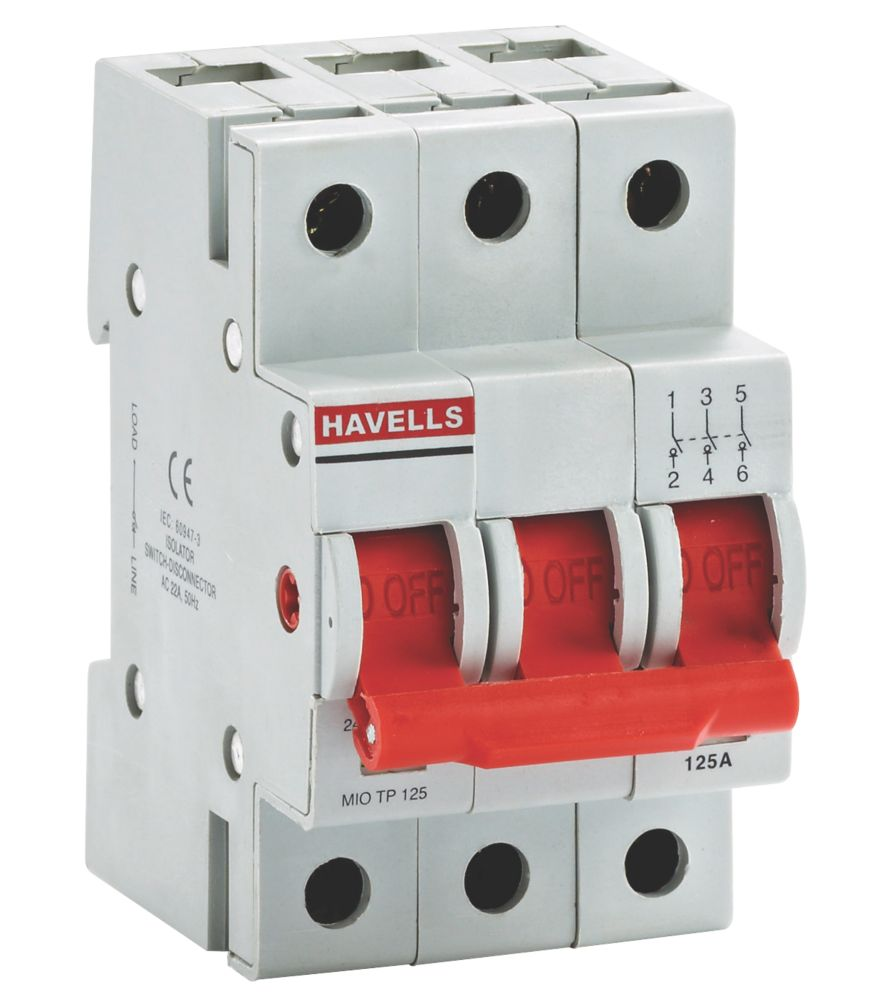 Image of Havells 125A Triple Pole SW Disconnector Incomer