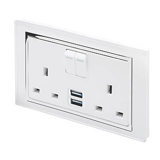 Image of Retrotouch 13A 2-Gang DP Switched Socket + 2.1A 2-Outlet USB Charger White Glass