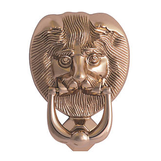 Image of Fab & Fix Lions Head Door Knocker Polished Gold 98 x 136mm
