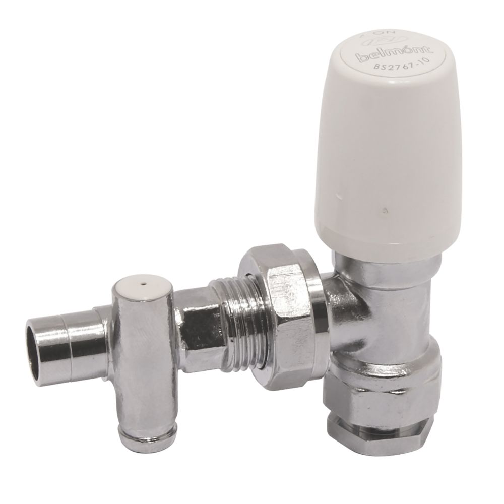 Image of Pegler 97CPDLS Chrome and White Angled Drain-Off Lockshield 15mm