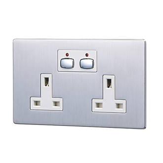 Energenie MiHome 13A 2Gang SP Switched Socket Brushed Steel