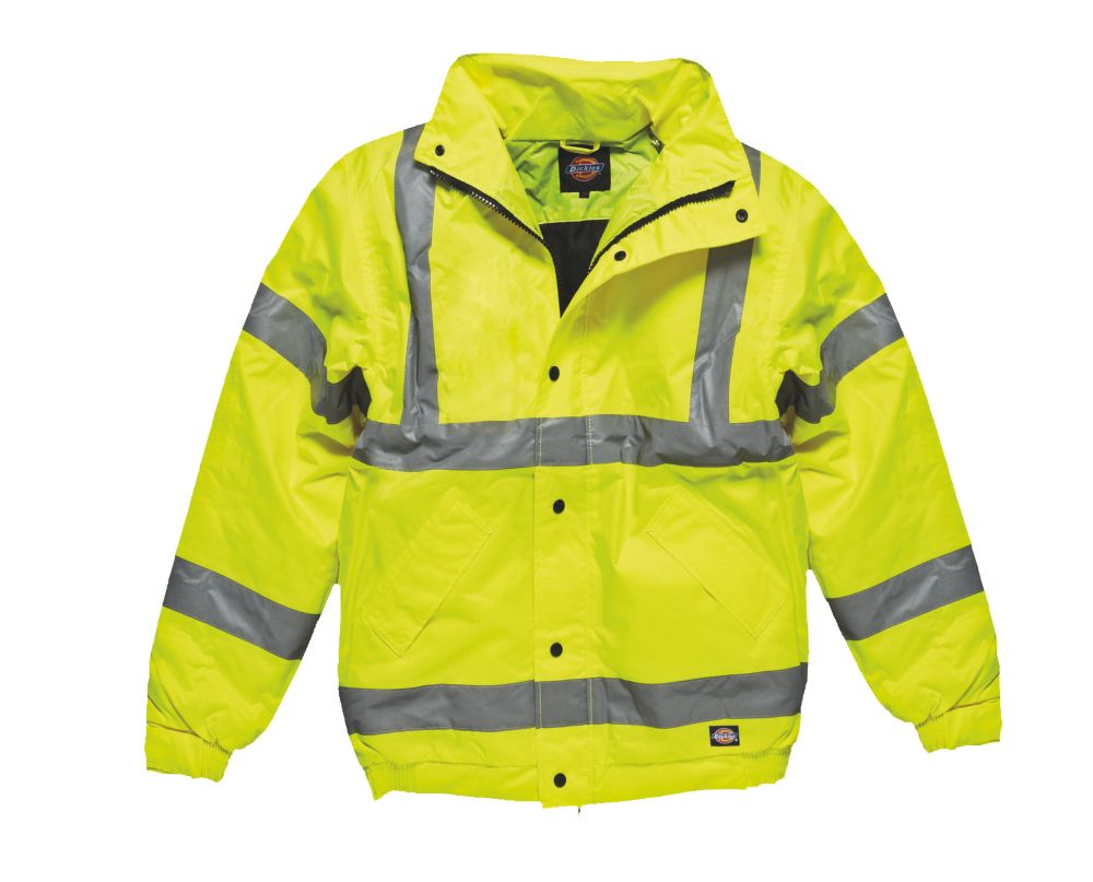"""Image of Dickies Hi-Vis Bomber Jacket Saturn Yellow Small 38"""" Chest"""