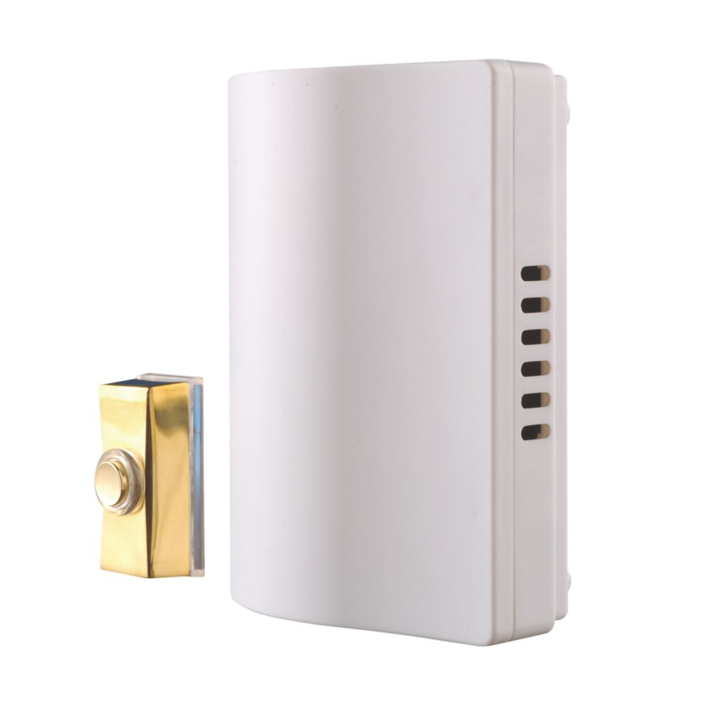 Image of Byron 765S Wired Wall-Mounted Doorbell Kit with Bell Push Brass