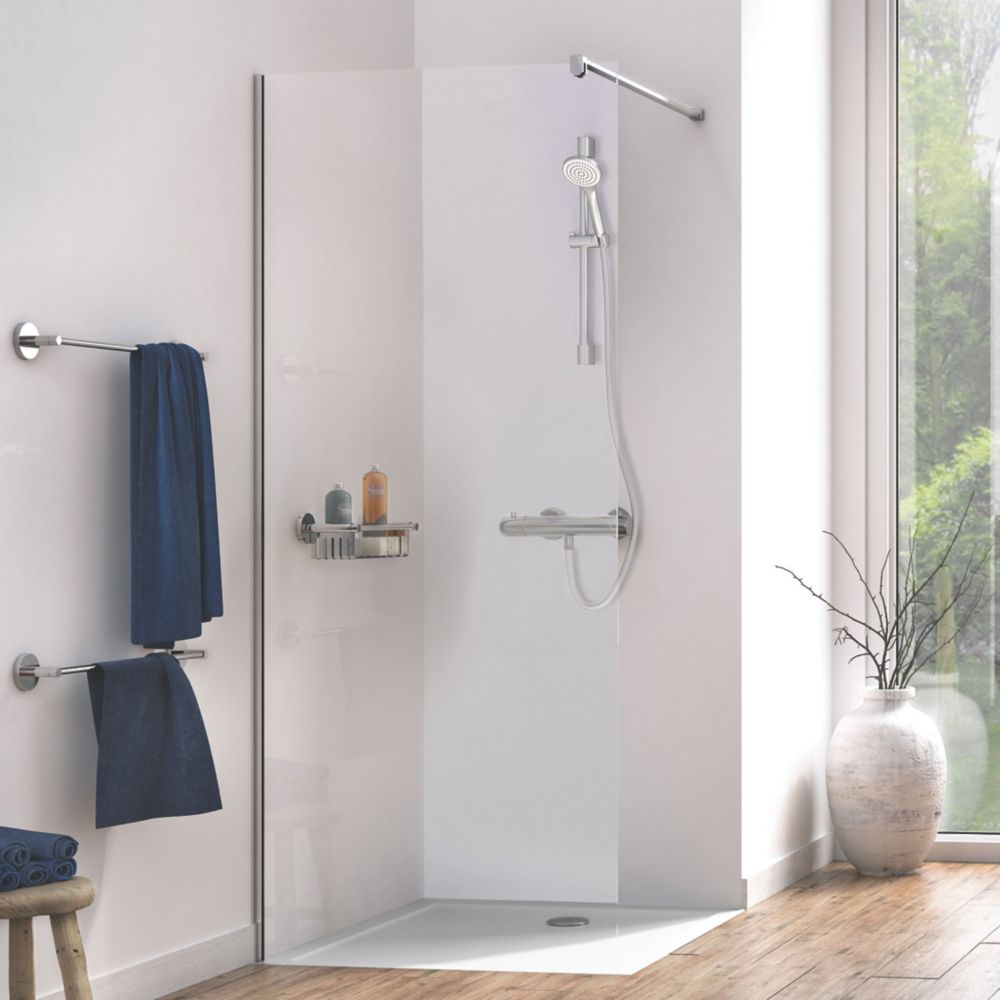 Image of Aqualux Edge 8 Frameless Wetroom Glass Panel Polished Silver 900 x 2000mm