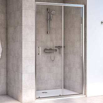 Image of Aqualux Edge 6 Sliding Shower Door Polished Silver 1700 x 1900mm
