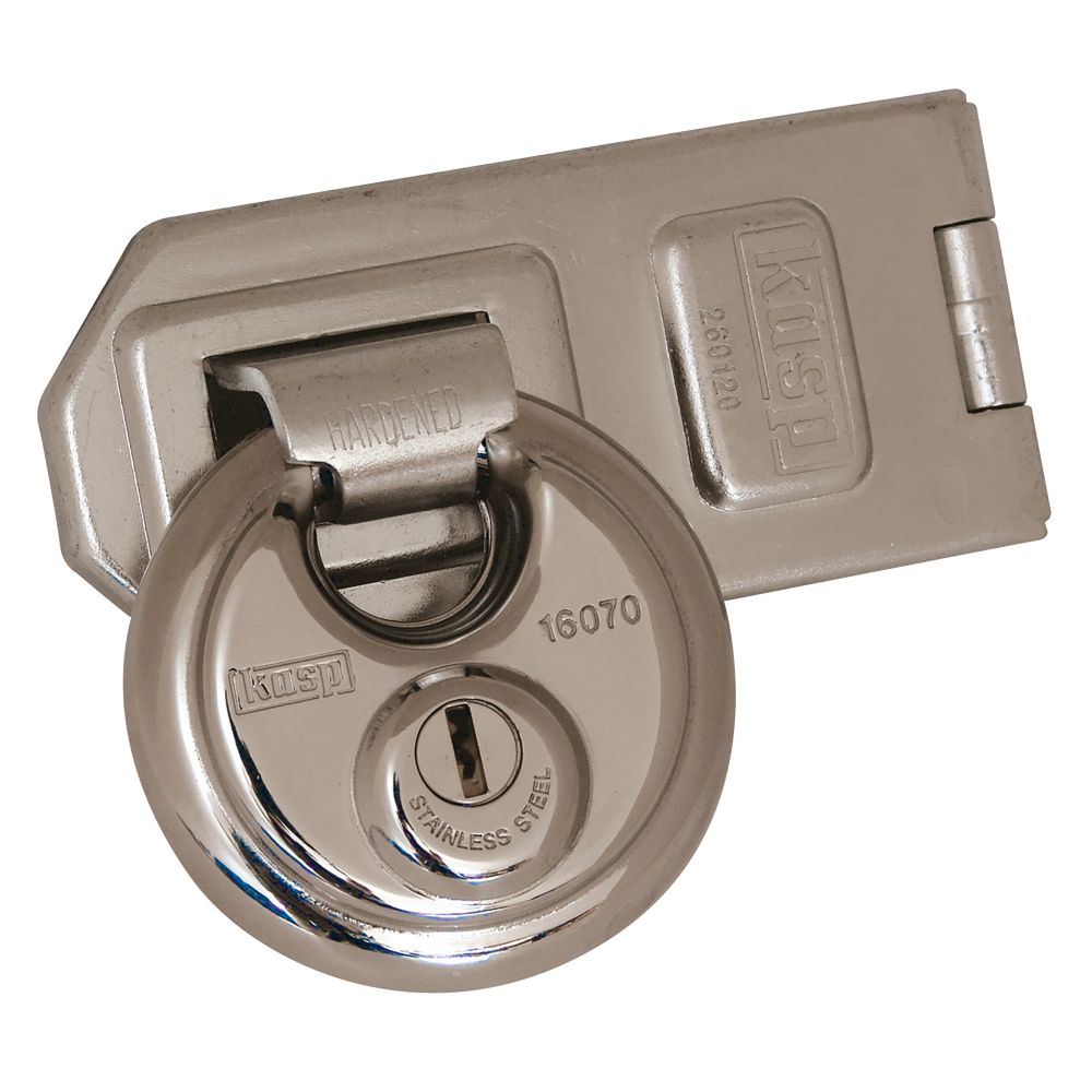 Image of Kasp Disc Padlock with Hasp Zinc-Plated 160mm