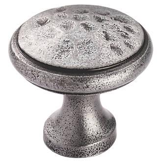 Image of Carlisle Brass Beaten Cupboard Knob Pewter 30mm