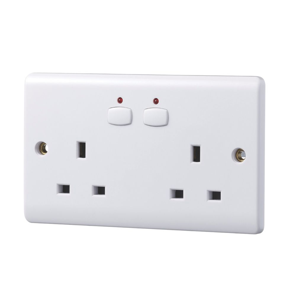 Image of Energenie MiHome 13A 2-Gang SP Switched Socket White