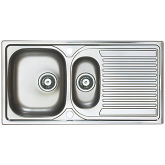 Image of Astracast Aegean Reversible Inset Sink Stainless Steel 1.5 Bowl 965 x 500mm