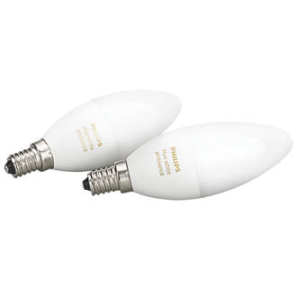 Image of Philips Hue Ambiance LED Candle SES Smart Candle Light Bulb Variable White 6W 450Lm 2 Pack