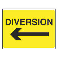 """Diversion"" with Arrow Left Stanchion Sign 450 x 600mm"