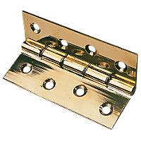 Washered Hinge Polished Brass 76 x 51mm 2 Pack