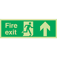 """Nite-Glo  """"Fire Exit"""" Up Arrow Sign 150 x 450mm"""