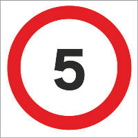 5mph Speed Limit Non-Reflective Stanchion Sign 450 x 450mm