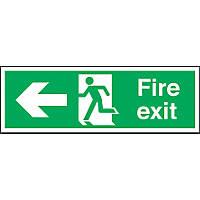 """Fire Exit"" Left Arrow Sign 150 x 450mm"