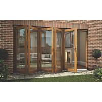 Jeld-Wen  Slide & Fold Patio Door Set Oak Veneer 3594 x 2094mm