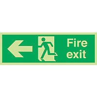 "Nite-Glo  ""Fire Exit"" Left Arrow Sign 150 x 450mm"