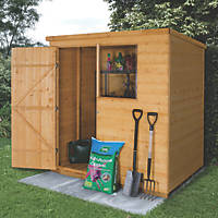 Forest 6' x 4' (Nominal) Pent Shiplap Timber Shed with Base