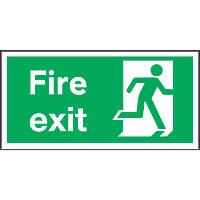 """""""Fire Exit"""" Right Sign 150 x 300mm"""