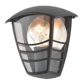 Zinc Perdita Black Half Wall Lantern 60w Outdoor Wall