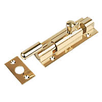Necked Door Bolt Polished Brass 102mm