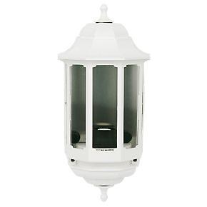 asd 60w white slave half lantern wall light outdoor wall. Black Bedroom Furniture Sets. Home Design Ideas