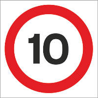 10mph Speed Limit Non-Reflective Stanchion Sign 450 x 450mm