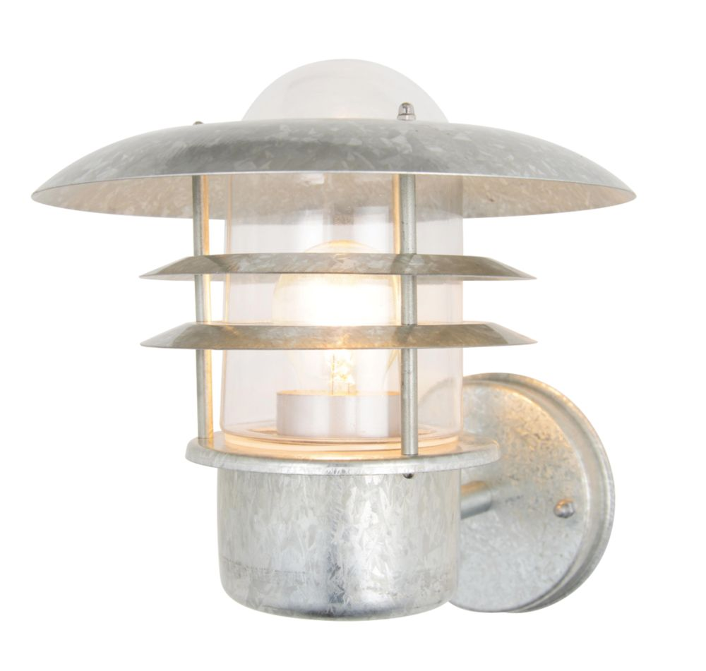 Zinc Vulcan Stainless Steel Tiered Wall Lantern 60W Outdoor Wall Lights Screwfix.com