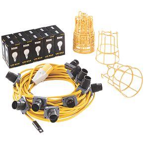 defender festoon lighting chain 10w 110v site lighting. Black Bedroom Furniture Sets. Home Design Ideas